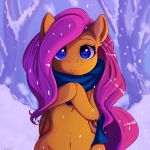 2018 absurd_res equine female fluttershy_(mlp) freckles friendship_is_magic hair hi_res looking_at_viewer mammal miokomata my_little_pony outside pegasus scarf snow solo tree wings