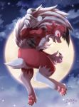 2017 ambiguous_gender anthro canine claws detailed_background fur ivan-jhang looking_at_viewer lycanroc mammal midnight_lycanroc moon nintendo nude pawpads pokémon pokémon_(species) red_eyes red_fur sky solo teeth tongue video_games white_fur