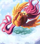2018 absurd_res cloud equine feathered_wings feathers female feral fluttershy_(mlp) friendship_is_magic hi_res hooves looking_at_viewer mammal miokomata my_little_pony outside pegasus solo underhoof wings