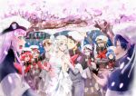 5boys 5girls absurdres bangs bare_shoulders bell black_hair blonde_hair blue_eyes blue_hair blush blush_stickers breasts bridal_veil brown_hair capelet cherry_blossoms cleavage collarbone commentary commentary_request couple darling_in_the_franxx dress english_commentary eyes_closed fangs flower futoshi_(darling_in_the_franxx) glasses gorou_(darling_in_the_franxx) green_eyes green_shorts grey_dress grey_legwear grey_shirt hair_ornament hairband hand_holding hand_up hat hetero highres hiro_(darling_in_the_franxx) holding holding_bell horns huge_filesize ichigo_(darling_in_the_franxx) ikuno_(darling_in_the_franxx) jewelry kokoro_(darling_in_the_franxx) light_brown_hair long_hair long_sleeves looking_at_another medium_breasts miku_(darling_in_the_franxx) military military_uniform mitsuru_(darling_in_the_franxx) multiple_boys multiple_girls necktie oni_horns peaked_cap petals pink_hair purple_eyes red_hair red_horns red_neckwear ring shirt shorts sleeveless sleeveless_dress socks temodemo_nor thick_eyebrows tree uniform veil wedding wedding_dress wedding_ring white_dress white_hairband yellow_eyes zero_two_(darling_in_the_franxx) zorome_(darling_in_the_franxx)