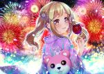 apple bang_dream! blonde_hair blush candy fireworks food fruit ichigaya_arisa japanese_clothes long_hair summer teddy_bear tsurugi_hikaru twintails yellow_eyes yukata