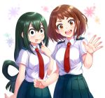 2girls :d :p asui_tsuyu blush boku_no_hero_academia breasts brown_eyes clenched_hand collared_shirt finger_to_mouth floral_print green_eyes green_hair hands highres large_breasts looking_at_viewer medium_breasts megiha multiple_girls necktie open_mouth school_uniform shirt short_sleeves simple_background skirt smile tongue tongue_out uraraka_ochako waving white_background