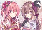 2girls ;) arms_up black_gloves blush bow braid commentary_request curly_hair eyebrows_visible_through_hair finger_to_mouth floral_print flower french_braid frilled_kimono frills gloves hair_bow hair_flower hair_ornament hair_scrunchie highres honoka_(1399871) japanese_clothes kimono light_brown_hair lipstick long_sleeves looking_at_viewer makeup moka_(honoka_chiffon) multiple_girls one_eye_closed one_side_up original pink_hair portrait purple_eyes purple_kimono purple_scrunchie red_kimono rose_(honoka_chiffon) sash scrunchie sidelocks smile tied_hair v
