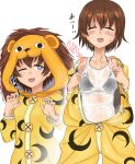 1girl animal_costume bikini black_bikini blue_eyes blush breasts brown_hair collarbone eyes_closed girls_und_panzer lion_costume open_mouth see-through simple_background small_breasts smile solo sweat swimsuit swimwear tank_top toku_(yhpv8752) tsuchiya_(girls_und_panzer) wet wet_clothes white_background