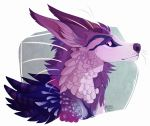 2016 ambiguous_gender canine digital_media_(artwork) feathers feral hair hybrid mammal maplespyder purple_eyes purple_feathers purple_hair purple_nose solo