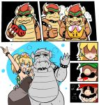 2girls 3boys 4koma alternate_color arm_around_waist artist_request black_dress blonde_hair blue_eyes blush borrowed_character bowser bowsette bracelet breasts choker collar comic crown double_cherry dress dual_persona facial_hair fang flat_color genderswap genderswap_(mtf) gloves hat heavy_breathing highres horns jewelry luigi mario mario_(series) mini_crown multiple_boys multiple_girls mustache new_super_mario_bros._u_deluxe nintendo ponytail princess_peach selfcest shaded_face silent_comic smile spiked_armlet spiked_bracelet spiked_collar spiked_shell spikes spitting spitting_blood super_crown super_mario_3d_world super_mario_bros. super_mario_odyssey sweatdrop thick_eyebrows thumbs_up turn_pale waving