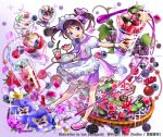 1girl :d blackberry_(fruit) blueberry bow cake dessert drink drinking_straw flower food fruit full_body glass holding holding_tray ice_cream kaekae looking_at_viewer neckerchief official_art open_mouth pansy parfait pink_footwear puffy_short_sleeves puffy_sleeves purple_bow purple_neckwear purple_skirt raspberry short_sleeves short_twintails shoumetsu_toshi_2 skirt smile socks solo sparkle spoon standing star strawberry striped tray twintails waitress watermark white_legwear