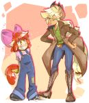 2018 anthro anthrofied apple_bloom_(mlp) applejack_(mlp) banana clothing duo equine female food friendship_is_magic fruit horse mammal meme my_little_pony pony sibling sisters thegreatrouge