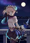 1girl :d absurdres atelier_(series) atelier_lydie_&_suelle black_gloves blush breasts building eyebrows_visible_through_hair full_moon gloves hairband head_tilt highres holding holding_staff juujuu looking_at_viewer lydie_marlen medium_breasts moon night open_mouth outdoors pink_eyes pink_hair railing side_ponytail skirt smile solo staff standing thighhighs water