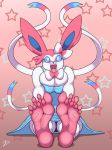 2015 4_toes anthro big_ears big_feet blue_eyes bow_tie clothing dress eeveelution feet female foot_fetish foot_focus fur hi_res humanoid_feet nintendo open_mouth paws pink_soles pokémon pokémon_(species) signature skirt soles solo star star_background sylveon toes video_games white_fur zp92