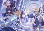 3girls armor artoria_pendragon_(all) bianyuanqishi blonde_hair castle_interior character_request crown fate/grand_order fate_(series) green_eyes holding holding_shield holding_sword holding_weapon horse indoors looking_at_another mash_kyrielight multiple_girls parted_lips pillar purple_eyes purple_hair saber_lily shield short_hair standing sword throne weapon