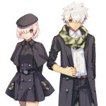 1boy 1girl buttons casual closed_mouth commentary_request eyebrows_visible_through_hair fate/grand_order fate_(series) galahad_(fate) goya_(xalbino) hair_between_eyes hair_over_one_eye hat jacket mash_kyrielight open_clothes open_jacket pink_hair pocket purple_eyes scarf short_hair simple_background spiked_hair white_background white_hair yellow_eyes