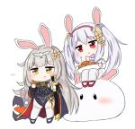 2girls :t animal animal_ears azur_lane bailingxiao_jiu bangs blue_footwear blue_jacket blue_leotard brown_eyes brown_flower brown_hair bunny bunny_ears carrot chibi closed_mouth eating eyebrows_visible_through_hair flower food fur-trimmed_sleeves fur_trim hair_between_eyes hair_flower hair_ornament hairband head_tilt holding holding_food holding_plate holding_sheath jacket laffey_(azur_lane) leotard long_sleeves mittens multiple_girls parted_lips pink_mittens plate puffy_long_sleeves puffy_sleeves red_eyes red_footwear red_hairband sheath sheathed silver_hair sitting standing sword thighhighs twintails weapon white_legwear white_mittens z23_(azur_lane)
