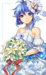 1girl antenna_hair asymmetrical_hair bangs bare_shoulders blue_eyes blue_hair bouquet brown_eyes brown_hair closed_mouth crescent crescent_hair_ornament detached_sleeves dress earrings flower hair_between_eyes hair_ornament holding holding_bouquet jewelry lily_(flower) mzkk_1826 pointy_ears puffy_short_sleeves puffy_sleeves rena_lanford short_hair short_sleeves smile solo star star_earrings star_ocean star_ocean_anamnesis star_ocean_the_second_story wedding_dress white_dress white_flower
