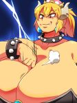 between_breasts blonde_hair bowser bowsette bracelet breast_hold breasts collar crown dramatic_effect fang genderswap giantess giga_bowser gigantic_breasts grin horns jewelry lightning mario mario_(series) nintendo smile spikes squarewave