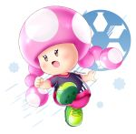 1girl :o alcyone_(cyclone_gx) artist_name ball black_eyes blush cleats clenched_hand full_body green_footwear mario_(series) nintendo pink_hair simple_background soccer_ball soccer_uniform solo sportswear super_mario_bros. super_mario_strikers toadette white_background