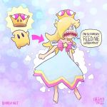 1girl :o bare_shoulders barefoot blonde_hair blue_dress blue_eyes chiko_(mario) clenched_hand crown dated dress earrings english full_body jewelry looking_at_viewer mario_(series) mike_kachow new_super_mario_bros._u_deluxe nintendo simple_background speech_bubble star super_crown super_mario_galaxy teeth tongue watermark web_address
