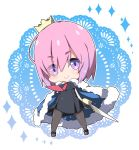1girl bangs black_dress blue_cloak blush boots breasts brown_footwear brown_legwear chibi cloak closed_mouth commentary_request crown doily dress dutch_angle eyebrows_visible_through_hair eyes_visible_through_hair fate/grand_order fate_(series) full_body fur-trimmed_cloak fur_trim hair_over_one_eye holding holding_sword holding_weapon mash_kyrielight medium_breasts milkpanda mini_crown necktie pantyhose pink_hair pleated_dress red_neckwear sleeveless sleeveless_dress smile solo sparkle standing sword weapon white_background