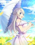 1girl :o arimoto asobi_asobase bare_shoulders blonde_hair blue_eyes blue_sky braid cloud crown_braid day dress eyebrows_visible_through_hair field flower flower_field holding holding_umbrella long_hair olivia_(asobi_asobase) outdoors over_shoulder parasol sky solo standing sunlight umbrella white_umbrella yellow_flower