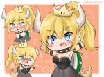 !? +++ ... 2girls \o/ arms_up bangs black_choker black_dress blonde_hair blue_eyes blush border bowser bowsette bracelet breasts brooch chibi choker cleavage crown dress earrings eyebrows_visible_through_hair fangs genderswap genderswap_(mtf) hand_to_own_mouth highres honyang horns jewelry mario_(series) multiple_girls multiple_views new_super_mario_bros._u_deluxe nintendo nose_blush orange_background outstretched_arms pointy_ears ponytail princess_peach shell sidelocks spiked_bracelet spiked_choker spiked_tail spikes spoken_ellipsis strapless strapless_dress super_crown super_mario_bros. tail turtle_shell twitter_username white_border