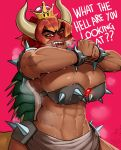 abs alternate_species angry big_breasts big_muscles blush bowser bowser_jr. bowsette_meme bra bracelet breasts brown_skin cleavage clothed clothing cracking_knuckles crossgender dark_skin female giga_bowser gradient_hair hair horn horned_humanoid huge_breasts humanoid humanoidized jewelry koopa koopahime krekk0v mario_bros multicolored_hair muscular muscular_female nintendo open_mouth orange_hair ponytail red_eyes red_hair scalie sharp_teeth spiked_bra spiked_bracelet spiked_shell spikes super_crown super_smash_bros sweat teeth text underwear video_games