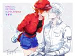 1boy 1girl ae-3803 artist_name baseball_cap belt cabbie_hat commentary_request couple dated english eyes_closed gloves hat hataraku_saibou hetero imminent_kiss jacket long_sleeves red_blood_cell_(hataraku_saibou) red_hair red_jacket short_hair shorts signature tina_(tinashan2) u-1146 white_blood_cell_(hataraku_saibou) white_hair white_hat white_skin