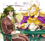 armor arthropod asgore_dreemurr beard beverage butterfly cape caprine chair clothed clothing crossover crown danganronpa danganronpa_v3 eyes_closed eyewear facial_hair glasses goat gonta_gokuhara hair happy headgear horn human insect king long_hair male mammal manly necktie open_mouth pamvary pants royalty sharp_teeth sitting smile suit tea teapot teeth tongue undertale video_games