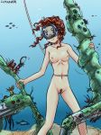 1girl air_bubble bubble curly_hair diving_mask fish freediving holding_breath long_hair nude ocean ocean_bottom original red_hair rope saver_(artbysaver) seaweed shipwreck underwater water wavy_hair