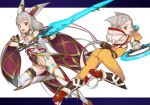 2girls :d absurdres animal_ear_fluff animal_ears ass bare_shoulders bodysuit boots breasts brown_eyes cat_ears chakram character_request detached_sleeves fangs gem grey_hair hair_ribbon high_heel_boots high_heels highleg highleg_leotard highres holding holding_sword holding_weapon hood hood_down kawakami_rokkaku leotard long_hair looking_at_viewer looking_back multiple_girls nintendo niyah open_mouth ribbon short_hair small_breasts smile spoilers sword thighhighs very_long_hair waist_cape weapon white_legwear wide_sleeves xenoblade_(series) xenoblade_2 yellow_bodysuit yellow_ribbon