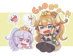 +_+ 2girls :p armpits arms_up baby_bowser blonde_hair blue_eyes blush boo bowsette bracelet character_request chibi collar commentary_request crown dress eyebrows_visible_through_hair fang gao genderswap genderswap_(mtf) hair_between_eyes horns humanization jewelry king_boo mario_(series) multiple_girls nintendo open_mouth pointy_ears purple_eyes sharp_teeth simple_background spiked_bracelet spiked_collar spikes tail teeth tongue tongue_out totatokeke turtle_shell white_hair