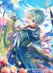 1boy ;d artist_name blue_eyes blue_hair blue_sky braid cloud copyright_request day earrings fantasy flower hood hood_down interitio jewelry looking_back male_focus official_art one_eye_closed open_mouth outdoors pink_flower pointy_ears robe sky smile standing watermark wide_sleeves