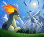 3_toes ambiguous_gender biped blue_body blue_eyes blue_fur bokurei cloud detailed_background digital_media_(artwork) duo ears_back feral fire flying frown fur grass legendary_pokémon looking_back low-angle_view lugia mammal mountain nintendo outside pokémon pokémon_(species) quadruped quilava red_eyes signature sitting sky sun tan_fur toes tree video_games water waterfall white_body wings