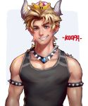 1boy armlet blonde_hair blue_eyes bowsette collar crown earrings genderswap genderswap_(ftm) grin horns jewelry looking_at_viewer lucha_cha male_focus mario_(series) new_super_mario_bros._u_deluxe nintendo nose pointy_ears smile solo spiked_collar spikes super_crown tank_top upper_body