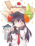 +_+ 2girls akatsuki_(kantai_collection) anchor_symbol az_toride black_hair black_sailor_collar black_skirt blue_eyes cherry eating flat_cap food fruit hand_on_own_face hat hibiki_(kantai_collection) holding holding_spoon kantai_collection long_hair looking_at_viewer mouth_hold multiple_girls neckerchief pleated_skirt pudding purple_eyes red_neckwear sailor_collar school_uniform serafuku silver_hair simple_background skirt sparkle spoon upper_body white_background