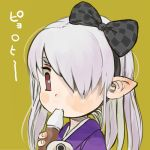 1girl black_bow bow checkered checkered_bow ebimomo fingernails hair_bow hair_over_one_eye hairband holding long_hair looking_at_viewer looking_down lowres one_eye_covered original pointy_ears portrait red_eyes silver_hair simple_background solo yellow_background