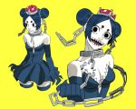 1girl bare_shoulders black_dress black_eyes black_hair black_legwear breasts broken broken_chain chain chains claws cleavage collar collarbone commentary cropped_legs double_bun dress elbow_gloves english_commentary eyelashes gloves highres jbbetz mario_(series) multiple_views new_super_mario_bros._u_deluxe nintendo pale_skin princess_chain_chomp sharp_teeth simple_background small_breasts solo strapless strapless_dress super_crown super_mario_bros. teeth thick_eyebrows thighhighs upper_body yellow_background