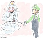 1boy 1girl artist_name blush brown_hair commentary crown dress ear_blush earrings embarrassed facial_hair flying_sweatdrops frills full-face_blush ghost_tail gloves hair_between_eyes hand_holding hand_on_own_cheek hat jewelry long_hair looking_away luigi luigi's_mansion mario_(series) mustache new_super_mario_bros._u_deluxe nintendo nose overalls panzuban pink_eyes pointy_ears princess_king_boo puffy_short_sleeves puffy_sleeves scratching_cheek short_sleeves simple_background sketch smile super_crown sweatdrop twitter_username very_long_hair wavy_mouth white_dress white_gloves white_hair white_skin