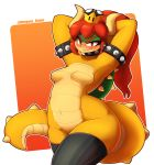 2018 absurd_res anthro blush bowser breasts clothing crossgender fangs featureless_breasts female hair hi_res horn koopa legwear long_hair looking_at_viewer mario_bros nintendo nipple_bulge red_eyes red_hair scalie solo super_crown thick_thighs thigh_highs video_games whygena