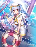 1girl :o bird blue_hair blue_sky brown_eyes cloud copyright_name eyebrows_visible_through_hair flag hair_between_eyes hat innertube interitio ocean official_art outdoors rigging sailor_collar sailor_hat sailor_shirt seagull shirt shorts sid_story sky solo spyglass standing twintails wristband