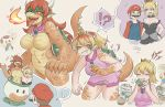 !? 2boys 2girls :t blonde_hair blue_eyes blush bowsette breasts breathing_fire c-c_(lasshenge) collar crown dress drooling eating eyes_closed facial_hair fire furry grey_panties hat horns mario mario_(series) multiple_boys multiple_girls mustache navel nintendo no_nipples nude one_eye_closed open_mouth panties princess_peach red_eyes red_hair scales spiked_collar spikes super_mario_bros. teeth toad tongue tongue_out torn_clothes transformation underwear