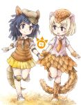 2girls armadillo_ears armadillo_tail armor blonde_hair blue_eyes blue_hair blush boots cabbie_hat collared_shirt commentary_request elbow_pads extra_ears eyebrows_visible_through_hair full_body giant_armadillo_(kemono_friends) giant_pangolin_(kemono_friends) hand_holding hat highres japari_symbol kemono_friends knee_pads kolshica multiple_girls necktie pangolin_ears pangolin_tail pleated_skirt scales shirt shoes short_hair short_sleeves skirt sneakers vest wrist_cuffs