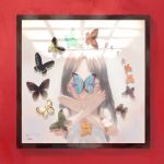 1girl absurdres black_hair black_wings blue_eyes bug butterfly butterfly_wings frame green_wings hand_gesture highres insect long_hair looking_at_viewer multicolored multicolored_wings orange_wings original purple_wings reflection shirt shrimp_cc sleeveless solo white_shirt wings