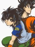 2boys black_eyes black_hair blue_shirt brown_eyes dragon_ball dragonball_z expressionless father_and_son green_pants happy hotate_(suikaneko) looking_back male_focus multiple_boys number number_pun older pants profile shirt short_hair simple_background smile son_gokuu son_goten spiked_hair white_background wristband