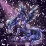 abstract_background anthro anthrofied big_breasts biped blue_eyes breasts crouching cutie_mark dancing digital_media_(artwork) equine female friendship_is_magic hair hair_over_eye hi_res horn horse humanoid looking_at_viewer mammal mdwines my_little_pony navel nipples nude pole pole_dancing pony princess princess_luna_(mlp) purple_hair purple_skin royalty simple_background smile solo stripper stripper_pole winged_unicorn wings