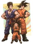 3boys arms_behind_head arms_up black_hair brothers dougi dragon_ball dragonball_z eyes_closed father_and_son full_body grin hand_on_hip happy height_difference highres long_sleeves looking_back looking_down makumaku male_focus multiple_boys short_hair siblings sleeveless smile son_gohan son_gokuu son_goten spiked_hair standing wristband