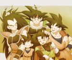 5boys :d ;d ^_^ arm_around_shoulder armor bandanna bardock black_hair brothers closed_eyes dougi dragon_ball eyes_closed eyewear_removed family father_and_son fingernails gloves grandfather_and_grandson great_saiyaman grey_background halo hand_on_another's_arm hand_on_another's_head hand_on_hip happy long_hair looking_at_another looking_down male_focus multiple_boys nervous one_eye_closed open_mouth raditz scar short_hair siblings simple_background smile son_gohan son_gokuu son_goten spiked_hair standing sunglasses sweatdrop teeth uncle_and_nephew upper_body very_long_hair wristband
