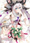 1girl bangs bare_shoulders blue_eyes blush bouquet breasts closed_mouth commentary_request detached_sleeves dress eyebrows_visible_through_hair fate/grand_order fate_(series) flower hair_between_eyes hat head_tilt holding holding_bouquet ice_(ice_aptx) leaning_forward leg_up long_hair looking_at_viewer marie_antoinette_(fate/grand_order) petals sidelocks simple_background sleeveless sleeveless_dress small_breasts smile solo standing standing_on_one_leg thighhighs twintails very_long_hair white_background white_dress white_flower white_hair white_hat white_legwear