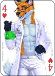 2018 abs anthro blue_eyes canine card clothed clothing coat digital_media_(artwork) english_text eyewear fonyaa fox fur glasses holding_object lab_coat looking_at_viewer male mammal muscular muscular_male orange_fur pants pecs playing_card red_fox science simple_background smile solo standing teeth text vial white_background white_fur