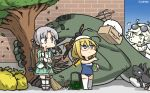 3girls ahoge akitsushima_(kantai_collection) amazon_(company) anchor blonde_hair brand_name_imitation brick_wall commentary_request dated enemy_lifebuoy_(kantai_collection) eyewear_on_head full_body glasses green_eyes green_skirt grey_hair hair_ornament hair_ribbon hamu_koutarou hat highres i-8_(kantai_collection) kantai_collection long_hair low_twintails military military_uniform mini_hat multiple_girls name_tag nishikitaitei-chan one-piece_swimsuit peaked_cap pleated_skirt propeller pt_imp_group purple_eyes red-framed_eyewear ribbon school_swimsuit semi-rimless_eyewear side_ponytail sidelocks skirt standing sunglasses supply_depot_hime swimsuit thighhighs translation_request trash_bag tree twintails under-rim_eyewear uniform white_legwear