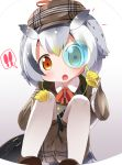 1girl :o bag bird_tail commentary commentary_request detective gloves grey_hair hat kemono_friends kemono_friends_festival looking_at_viewer magnifying_glass makuran multicolored_hair northern_white-faced_owl_(kemono_friends) orange_eyes pantyhose pantyhose_under_shorts short_hair shoulder_bag simple_background sitting solo speech_bubble squatting white_hair white_legwear yellow_gloves